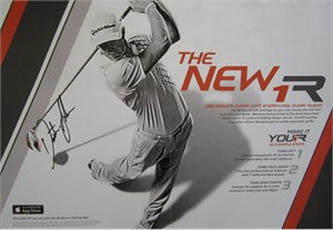 Dustin Johnson autographed Taylor Made golf magazine foldout ad