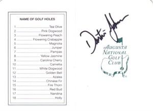 Dustin Johnson autographed Augusta National Masters golf scorecard