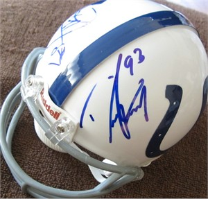 Dwight Freeney & Reggie Wayne autographed Indianapolis Colts mini helmet