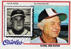 Earl Weaver autographed Baltimore Orioles 1971 Topps card