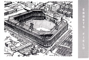 Ebbets Field 1990 Waterford Publishing postcard (Eric Hotz artwork)