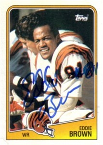Eddie Brown autographed Cincinnati Bengals 1988 Topps card