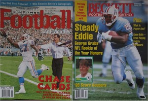 Lot of 2 Eddie George Oilers 1997 Beckett Football Monthly magazines