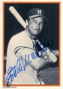 Eddie Mathews autographed Milwaukee Braves 1985 Topps Circle K All Time Home Run Kings card