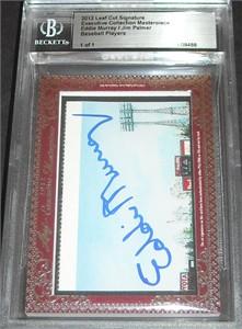 Eddie Murray & Jim Palmer certified autograph 2012 Leaf Executive Masterpiece Dual Cut Signature card #1/1