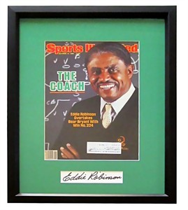 Eddie Robinson autograph matted & framed with Grambling 1985 Sports Illustrated cover
