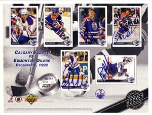 Craig MacTavish Dave Manson Bernie Nicholls Bill Ranford autographed Edmonton Oilers 1992-93 Upper Deck card sheet