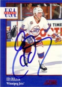Ed Olczyk autographed Winnipeg Jets 1992-93 Score USA Greats card