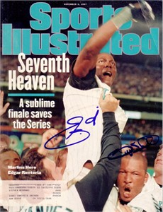Gary Sheffield & Edgar Renteria autographed 1997 Florida Marlins World Series Sports Illustrated