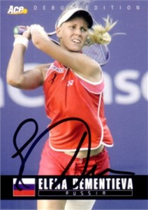 Elena Dementieva autographed 2005 Ace Authentic tennis card
