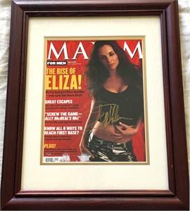 Eliza Dushku autographed Maxim magazine cover matted & framed