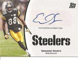 Emmanuel Sanders certified autograph Pittsburgh Steelers 2011 Topps Rising Rookies card