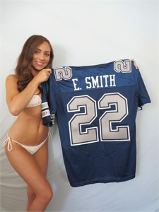 Emmitt Smith Dallas Cowboys 1990 rookie season authentic blue Champion stitched throwback jersey