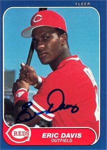 Eric Davis autographed Cincinnati Reds 1986 Topps card