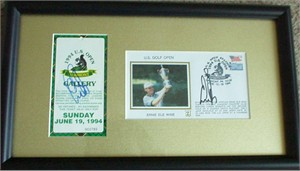 Ernie Els autographed 1994 U.S. Open ticket & cachet envelope matted & framed