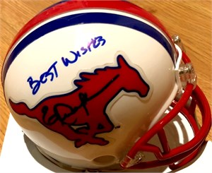 Eric Dickerson autographed SMU Mustangs mini helmet