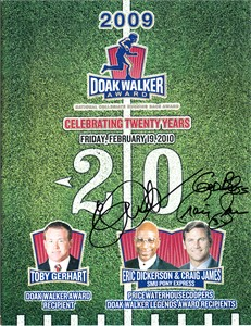 Eric Dickerson & Craig James autographed SMU Pony Express 2009 Doak Walker Award program