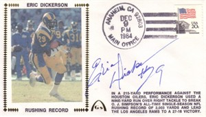 Eric Dickerson autographed Los Angeles Rams 1984 Rushing Record cachet envelope