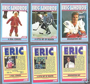 Eric Lindros 1991 Score promo hockey card set (3)