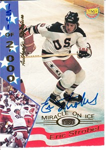 Eric Strobel certified autograph 1980 USA Hockey Team 1995 Signature Rookies Miracle on Ice card