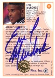 Eric Murdock certified autograph 1991 Star Pics card