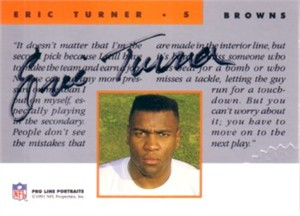 Eric Turner certified autograph Cleveland Browns 1991 Pro Line card