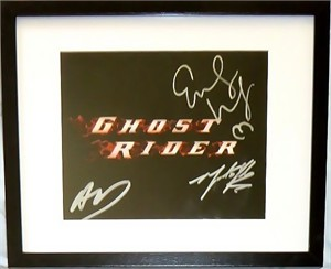 Eva Mendes autographed Ghost Rider logo 8x10 photo matted & framed