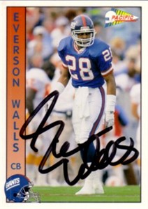 Everson Walls autographed New York Giants 1992 Pacific card