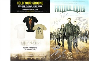 Falling Skies cast autographed Season 2 DVD insert (Noah Wyle Moon Bloodgood Sarah Carter Will Patton)