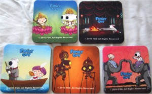 Family Guy 2016 Comic-Con set of 5 SipGrip foam coasters
