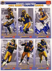 Flipper Anderson Marc Boutte Henry Ellard autographed 1993 Los Angeles Rams McDonald's card sheet
