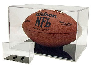 Football display case holder with black base