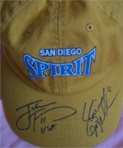 Julie Foudy & Shannon MacMillan autographed WUSA San Diego Spirit cap or hat