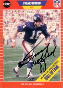 Frank Gifford autographed New York Giants 1989 Pro Set Announcers card