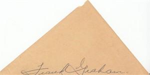 Frank Graham autograph on plain paper (cut signature)