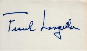Frank Langella autographed index card