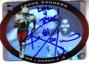 Frank Sanders autographed Cardinals 1996 SPx hologram card