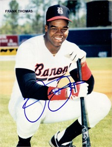 Frank Thomas autographed Birmingham Barons magazine back cover photo
