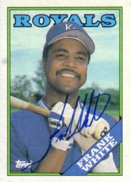 Frank White autographed Kansas City Royals 1988 Topps card