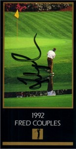 Fred Couples autographed 1992 Masters Champion golf card