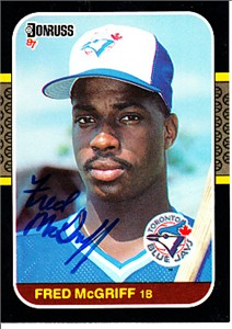 Fred McGriff autographed Toronto Blue Jays 1987 Donruss card