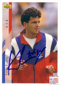 Frank Klopas autographed U.S. Soccer 1994 Upper Deck card
