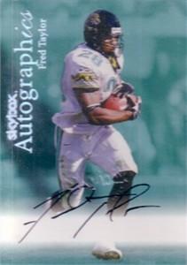 Fred Taylor certified autograph Jacksonville Jaguars 1999 SkyBox Autographics card
