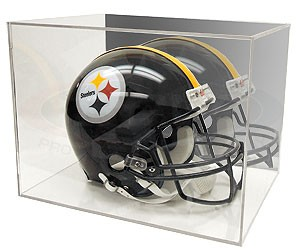 Full size football helmet display case holder with mirrored back