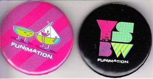 Funimation set of 2 different 2013 Comic-Con buttons or pins