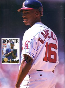 Garret Anderson autographed Angels Beckett magazine back cover photo
