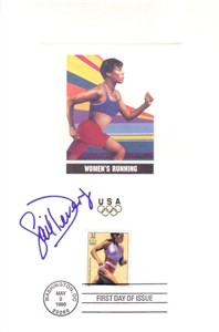 Gail Devers autographed 1996 Olympic USPS First Day of Issue souvenir card sheet