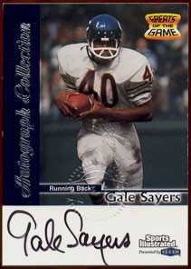Gale Sayers certified autograph Chicago Bears 1999 Fleer card