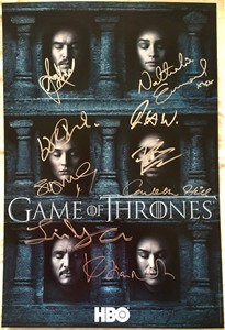 Game of Thrones cast autographed 2016 Comic-Con poster Sophie Turner John Bradley Conleth Hill