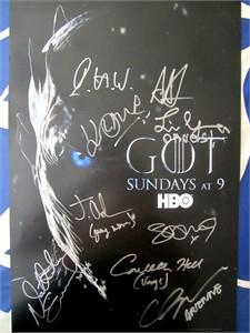 Game of Thrones cast autographed 2017 Comic-Con poster (Alfie Allen John Bradley Sophie Turner)